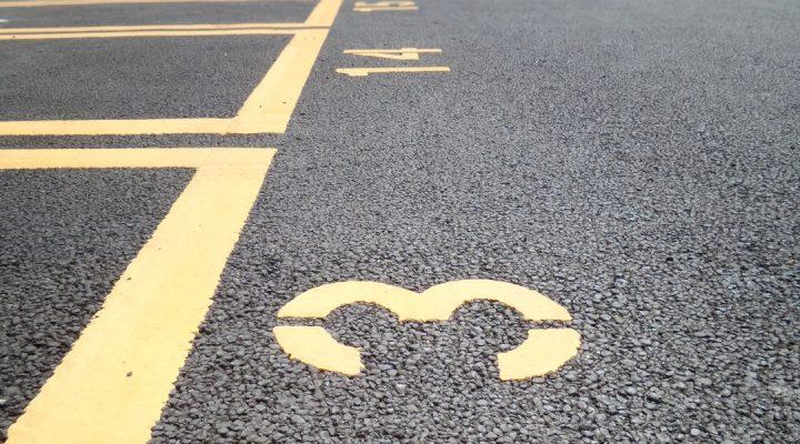 parking lot resurfacing with fresh striping