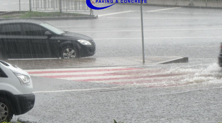 Heavy Rain on a Parking Lot